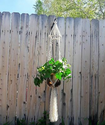 """Large Macrame Plant Hanger~Oatmeal Tweed-Bird Cage Top~Twist/Square Knot~54"""" Lg"""
