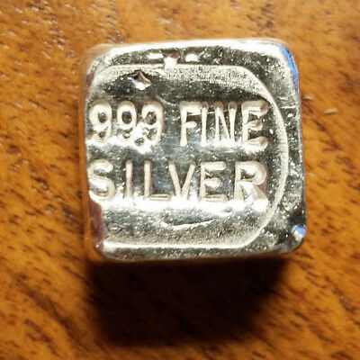 Hand Poured 1 oz .999 Fine Silver Cube Bar