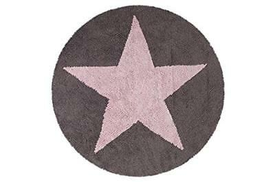 Lorena Canals C-SR-PDG Reversible Round Star Pink - Dark Grey Washable Rug, Rosa