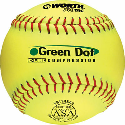 Worth 11″ ASA Green Dot Slowpitch Softballs YS11RSA3 (1 Dozen)