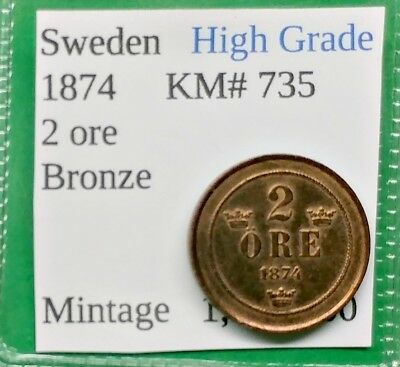 World Foreign Old Sweden 2 ore Coin 1874 Super Nice High Grade  !!