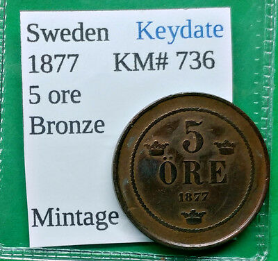 World Foreign Old Sweden 5 ore Coin 1877 Key Date Hard to Find  !!