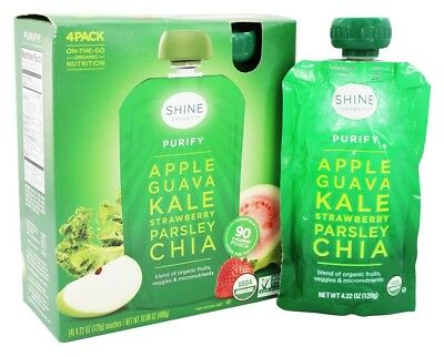 HappyFamily - Shine Organics Purify Fruit & Veggie Snack Pouches Apple & Guava -