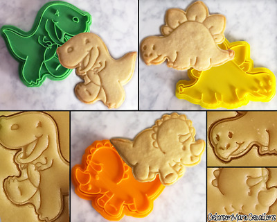 Dinosaur Cute Cookie Cutter Set Biscuit Stamp Baking Ceramics Pottery