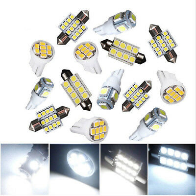 14Pc White LED Interior Package Kit For T10 & 31mm Map Dome License Plate Lights