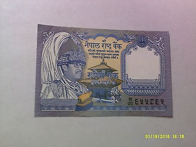Old Nepal Paper Money Currency - 1 Rupee plumed crown - Nice Circulated