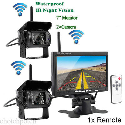 """7"""" Wireless Rear View Monitor Kit 2x Night Vision Backup Camera for Bus Truck/rv"""