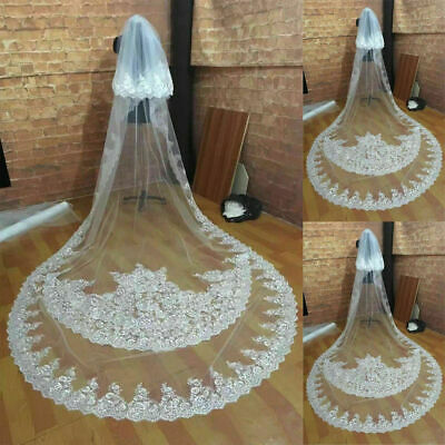 2T White Ivory Wedding Veils Cathedral Length Bridal Lace Applique With Comb