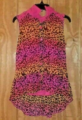 George Girls Large (10-12) Pink Orange Animal Print Lace Sleeveless Top