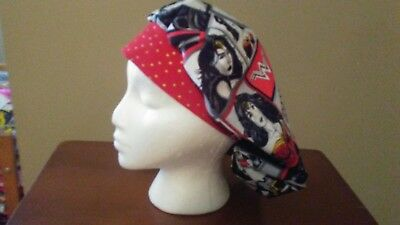 New Wonder Woman Women's Bouffant Surgical Scrub Hat/Cap Handmade