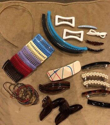 Vintage 80s Lot of Hair Accessories~ Barrettes ~ Hair Combs~Banana Clips~++