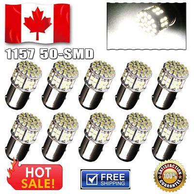 10x Pure White 1157 50 SMD LED Tail Brake Backup Light Bulbs 1076 1152 1206 12V