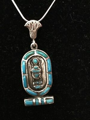 Rare Egyptian Stamped Sterling Silver,Natural Turquoise Cartouche SCARAB Pendant
