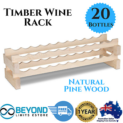 Wine Rack 20 Bottle Timber Rack Storage Solution Stand Stackable Organise Bar