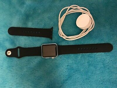 Apple Watch 7000 Series 0 38mm Silver Aluminum Case Black Sports Band