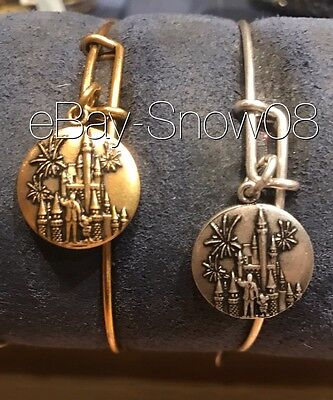 ALEX AND ANI Charm Bracelet Castle and Mickey Bangle Silver DISNEY PARK New Tags