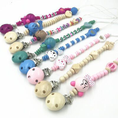 Wood Baby Pacifier Clips Wood Beads Pacifier Chain Soother Baby Feeding Clips