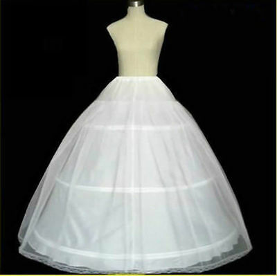 3 Hoop 2 Layer White Bridal Wedding Dress Underskirt Petticoat Gown Crinoline US