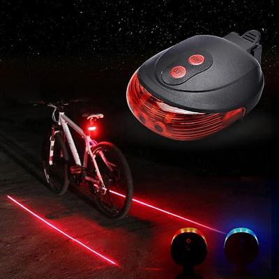 5 LED 2 Laser Beam Taillight Mountain Cycling Bike Bicycle Back Rear Tail Light