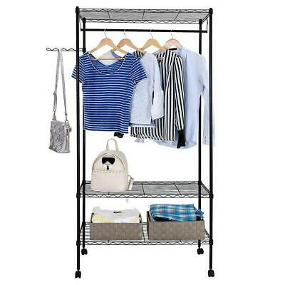 3 Tier Closet Organizer Metal Garment Rack Portable Clothes Hanger Home  Shelf