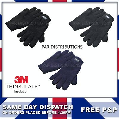 Mens Ladies 3M Thinsulate Full Finger Thermal Gloves Glove Cold Winter 97131