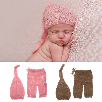 Mohair Newborn Photography Props Costumes Hat+Pants Set Baby Photo Accessories