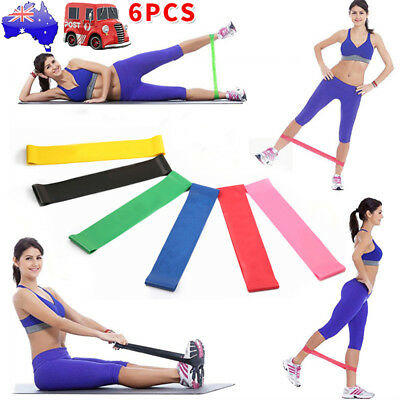 Set of 6 Resistance Bands for Men and Women Strength Fitness GYM Exercise Yoga