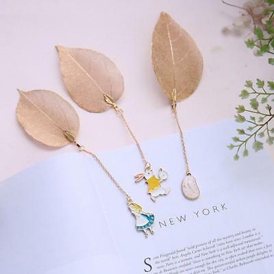 Gold Metal Leaf Bookmark Alice/Rabbit/Watch Pendant Book Paper Reading Creative