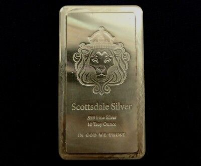 10 Troy Ounce .999 Silver Scottsdale Stacker Bar Serial # 13015504