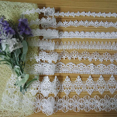 Vintage Black&White Flower Motif Appligue Trimmings Wedding Crafts Lace Ribbon