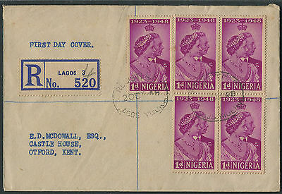 Nigeria 1948 Royal Wedding 1d block of 4 + single on registered FDC to UK
