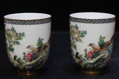 Chinese Exquisite Handmade Painting  Flower bird pattern porcelain teacup a pair