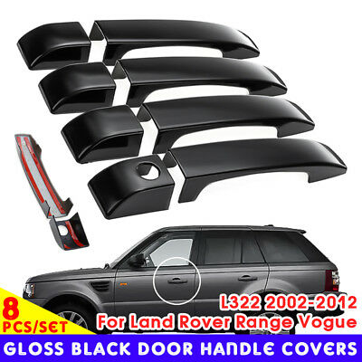 8Pcs Door Handle Covers Trim Gloss Black For Land Rover Range Vogue L322 02-12