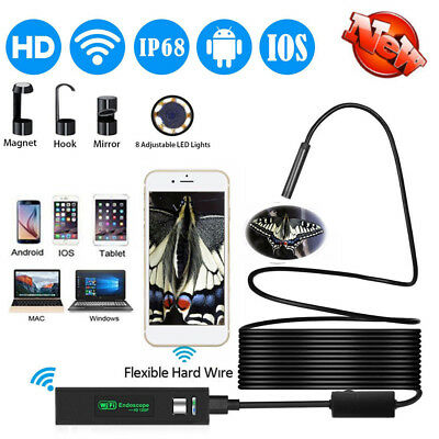 8LED Wireless Endoscope WiFi Borescope Inspection HD 1200P Camera Waterproof
