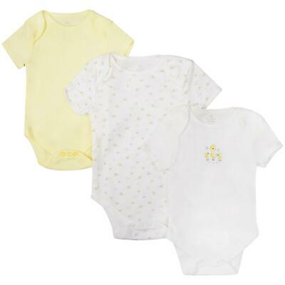 Baby 3 Pack Body Suits Boys Girls Short Sleeve Ex Store Lemon Cream Vests 0M-3Y