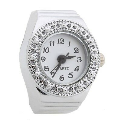 Ring Watch Quartz Silver Alloy Round Sphere for Women Dame T5M9