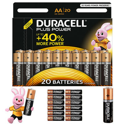 GENUINE 20x DURACELL AA PLUS POWER ALKALINE [MEGA PACK] BATTERY UP TO 40%+ POWER