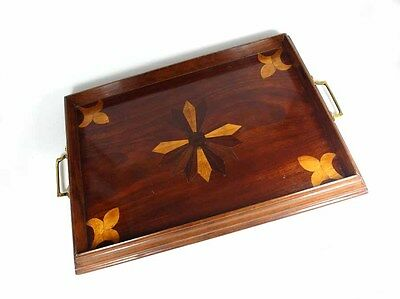 Old Tray, Wood, Inlaid, Brass, France or Switzerland, um 1900