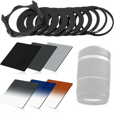 6 pcs Graduated ND 2/4/8 Filter kits 3 color & 9 pcs Ring Adapter For Cokin P TR