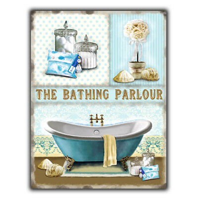 THE BATHING PARLOUR Vintage Retro Toilet Bathroom METAL SIGN WALL DOOR PLAQUE