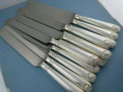 "12 Sterling JAMES ROBINSON 10 1/2"" Dinner Knives FIDDLE THREAD & SHELL ~no mono"
