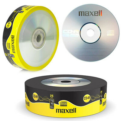 GENUINE MAXELL 25x CD-R BLANK RECORDABLE DISCS CDs MEDIA BLANK DISKS 52X SPEED