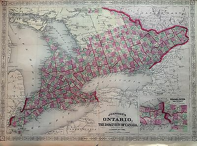JOHNSON'S Ontario Canada Lake Incision 1866 Map United States Map