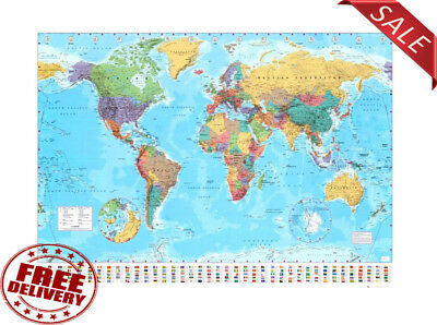 World Map Classic Huge Large Laminated Wall Map (100x140)cm Poster Office School