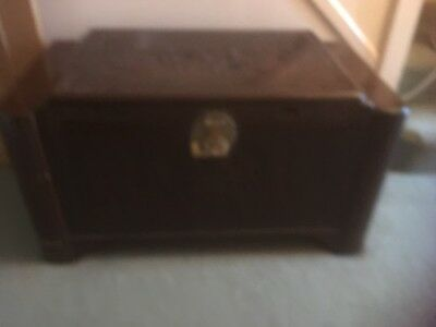 Solid Wood Camphor Chinese Trunk Chest with original bar lock