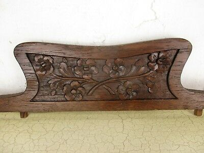 Vintage Hand Carved Wooden Oak  Pediment Over door Architectural Ornate Flowers