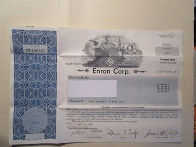 *RARE* Enron Corp. Stock Certificate with  Ken Lay's Signature