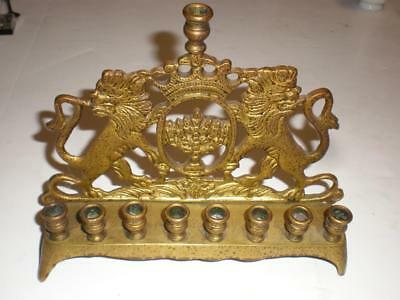 Vintage Antique Brass Menorah - Lions & Crown - Heavy Well Made & Detailed