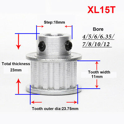 XL15T Timing Belt Pulley Sprocket 4/5/6/6.35/7/8/10/12mm Bore For 3D Printer