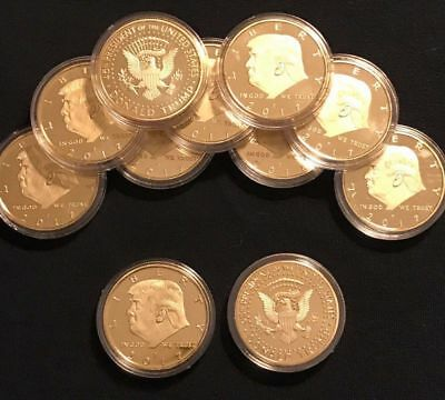 10PC President Donald Trump Inaugural Golden EAGLE Commemorative Novelty Coin